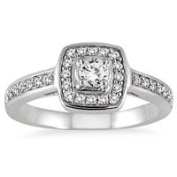 1/2 Carat TW Diamond Halo Ring in 10K White Gold