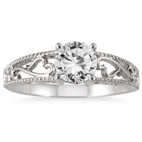 1 Carat Diamond Antique Engraved Ring in 14K White Gold