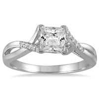 7/8 Carat Princess Cut Diamond Engagement Ring in 14K White Gold