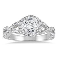 IGI Certified 1 1/2 Carat TW Twisted Split Shank Halo Engagement Ring in 14K White Gold (H-I Color, I2-I3 Clarity)