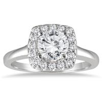 1 1/3 Carat Diamond Halo Engagement Ring in 14K White Gold