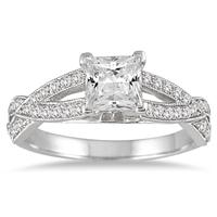 1 1/3 Carat TW Princess Cut Diamond Ring in 14K White Gold