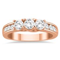 1 Carat Diamond Three Stone Ring in 10K Rose Gold