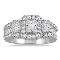 2 Carat TW Three Stone Diamond Halo Ring in 14K White Gold