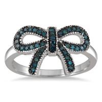1/4 Carat Blue Diamond Ribbon Ring in .925 Sterling Silver