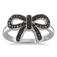 1/4 Carat Black Diamond Ribbon Ring in .925 Sterling Silver