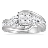 1 Carat Princess Diamond Engagement Ring in 14K White Gold