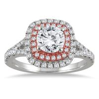 1 1/2 Carat TW Diamond Halo Engagement Ring in 14K Rose and White Gold