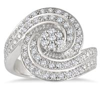 1/2 Carat Diamond Spiral Ring in .925 Sterling Silver