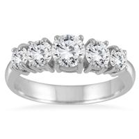 1.25 Carat 5 Stone White Diamond Ring in 14K White Gold