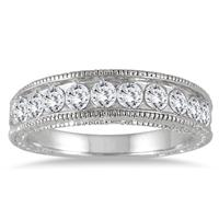 1 Carat Seven Stone Diamond Engraved Antique Ring in 14K White Gold