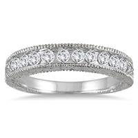1/2 Carat TW Diamond Engraved Antique Band in 10K White Gold