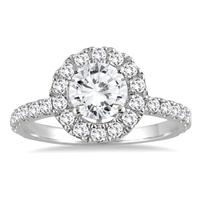 1 3/5 Carat Diamond Halo Ring in 14K White Gold