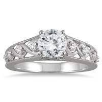 1 1/8 Carat Antique Diamond Engagement Ring in 14K White Gold