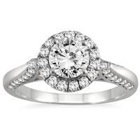 1 1/2 Carat Diamond Halo Engagement Ring in 14K White Gold