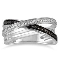 Genuine Black and White Diamond XO Cirss Cross Ring in .925 Sterling Silver