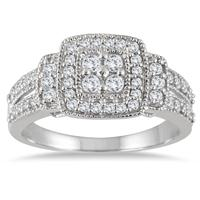 1/2 Carat Diamond Halo Split Shank Ring in 10K White Gold