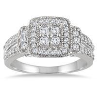 1/2 Carat Diamond Halo Split Shank Ring in 10K White Gold