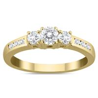 1/2 Carat Diamond Three Stone Ring in 10K Yellow Gold