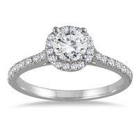 1 Carat Diamond Halo Engagement Ring in 14K White Gold