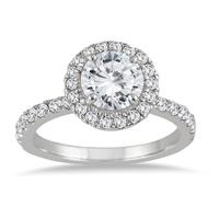 1 1/2 Carat Eternity Halo Diamond Engagement Ring in 14K White Gold