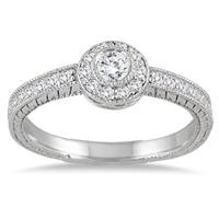 1/2 Carat Engraved Halo Ring in 14K White Gold