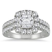 2 1/10 Carat Cushion Cut Diamond Halo Engagement Ring in 14K White Gold