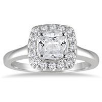 1 1/3 Carat Diamond Cushion Cut Engagement Ring in 14K White Gold
