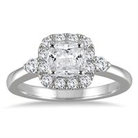 1 1/2 Carat Cushion Cut Halo Engagement Ring in 14K White Gold