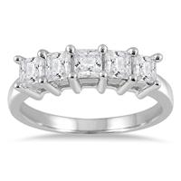 1.00 Carat Five Stone Princess Diamond Ring in 10K White Gold