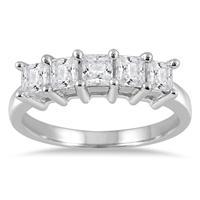 1.00 Carat Five Stone Princess Diamond Ring in 10K White Gold