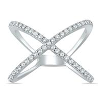1/2 Carat Diamond Criss Cross X Ring in 10K White Gold
