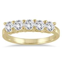 1 Carat Five Stone Wedding Band in 14K Yellow Gold