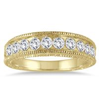 1 Carat Diamond Engraved Antique Ring in 14K Yellow Gold