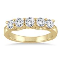1.00 Carat Five Stone Diamond Wedding Band in 10K Yellow Gold
