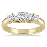 3/4 Carat Diamond Five Stone Band in 14K Yellow Gold