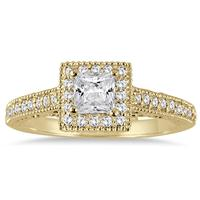 3/4 Carat Princess Antique Deco Diamond Halo Engagement Ring in 14K Yellow Gold