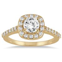 1 1/10 Carat Diamond Halo Engagement Ring in 14K Yellow Gold