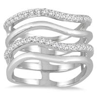 3/8 Carat TW 4 Row Diamond Wave Ring in 10K White Gold