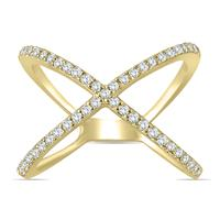 1/2 Carat Diamond Criss Cross X Ring in 10K Yellow Gold