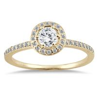 1/2 Carat Diamond Halo Ring in 14K Yellow Gold