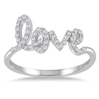 1/4 Carat TW Diamond Love Ring in 14K White Gold