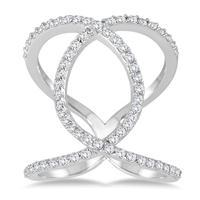 5/8 Carat TW Diamond Open Infinity Link Ring in 14K White Gold