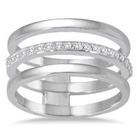 1/5 Carat TW Diamond Triple Row Band in 14K White Gold