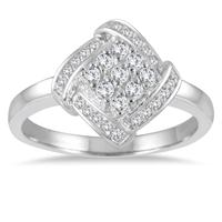 1/4 Carat Diamond Cluster Ring in 10K White Gold