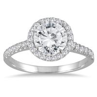 2 Carat TW Halo Diamond Engagement Ring in 14K White Gold