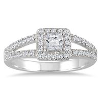 7/8 Carat TW Princess Diamond Halo Engagement Ring in 14K White Gold