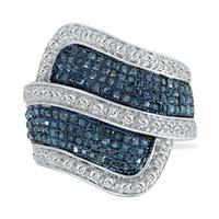 1 Carat T.W Blue and White Diamond Ring in .925 Sterling Silver