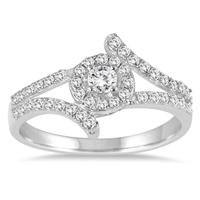 1/2 Carat Split Shank Halo Ring in 10K White Gold