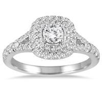 3/4 Carat Diamond Double Halo Engagement Ring in 14K White Gold